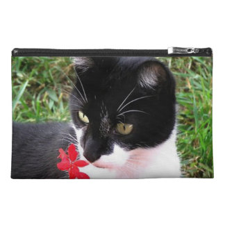 Awesome Tuxedo Cat in Garden Travel Accessory Bag