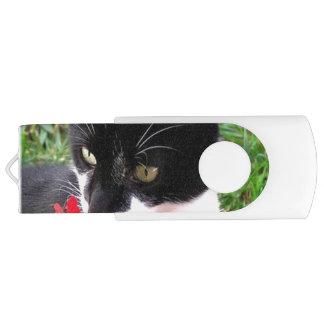 Awesome Tuxedo Cat in Garden USB Flash Drive