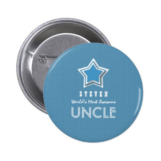 Awesome UNCLE Blue White with Star and Name B17B 6 Cm Round Badge