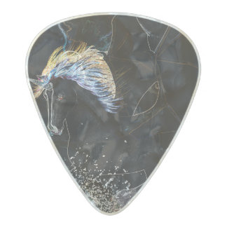 Awesome unicorn pearl celluloid guitar pick