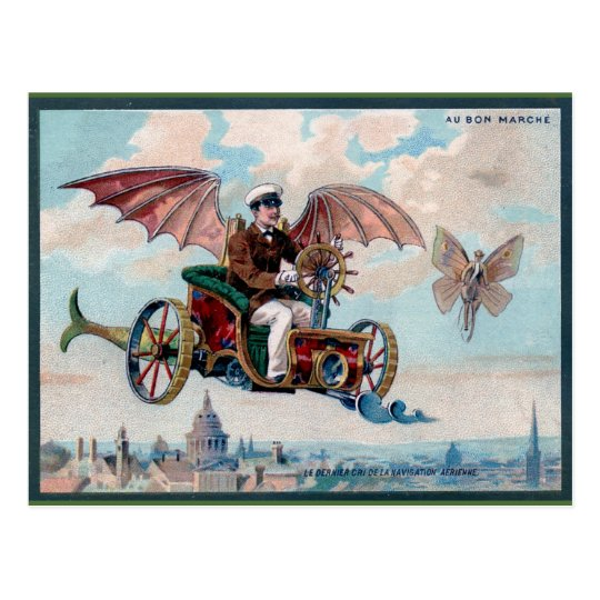 Awesome Victorian Steampunk Flying Car Postcard