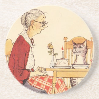 Awesome Vintage Cat and Woman Sitting for Dinner Coaster