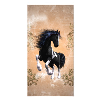 Awesome wild horse with floral elements customised photo card