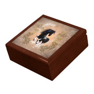 Awesome wild horse with floral elements gift box