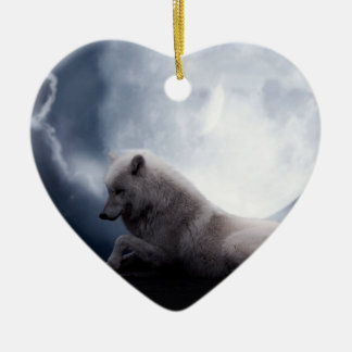 Awesome Wolf and Moon White Wolf Ceramic Heart Decoration