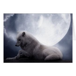 Awesome Wolf and Moon White Wolf Greeting Card