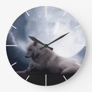 Awesome Wolf and Moon White Wolf Large Clock