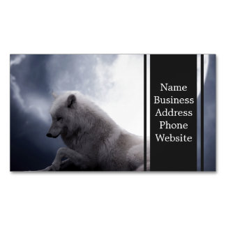 Awesome Wolf and Moon White Wolf Magnetic Business Cards