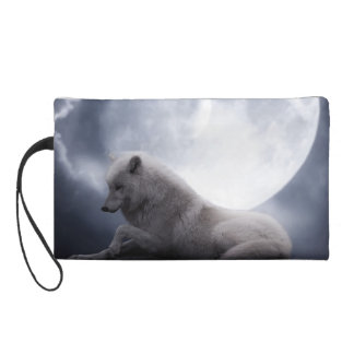 Awesome Wolf and Moon White Wolf Wristlet