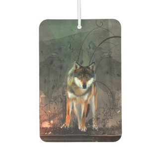 Awesome wolf on vintage background car air freshener