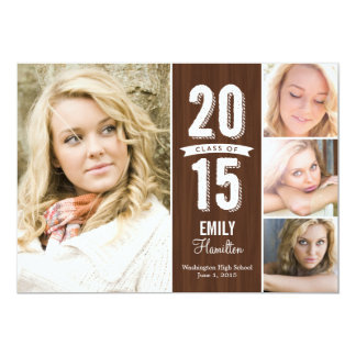 "Awesome Year Graduation Announcement - Wooden 5"" X 7"" Invitation Card"
