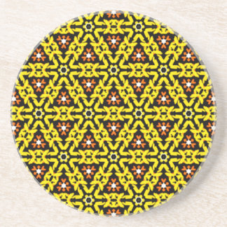 Awesome Yellow and Orange Filigree Pattern Coaster