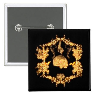 Awesome yellow skull with flowers 15 cm square badge