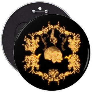 Awesome yellow skull with flowers 6 cm round badge