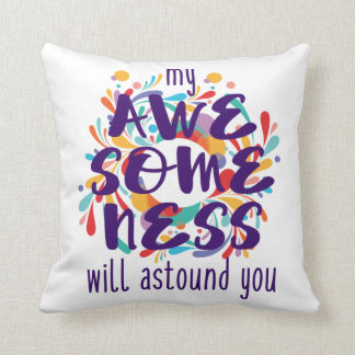 Awesomeness (Purple)-Choose Background Color Cushion