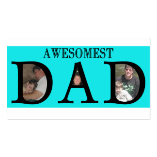 Awesomest Dad Fathers Day Add Your Pictures Logo Double-Sided Standard Business Cards (Pack Of 100)