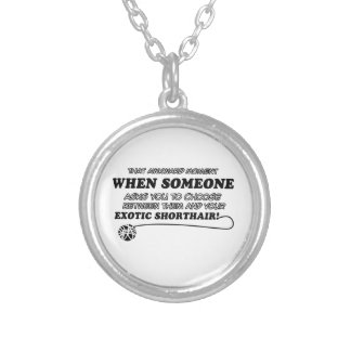 Awkward exotic shorthair designs personalized necklace