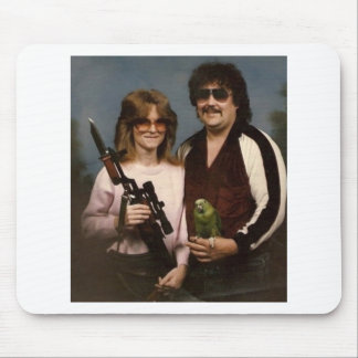 Awkward Family Photos - Couple with parrot Mousepads
