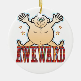Awkward Fat Man Round Ceramic Decoration