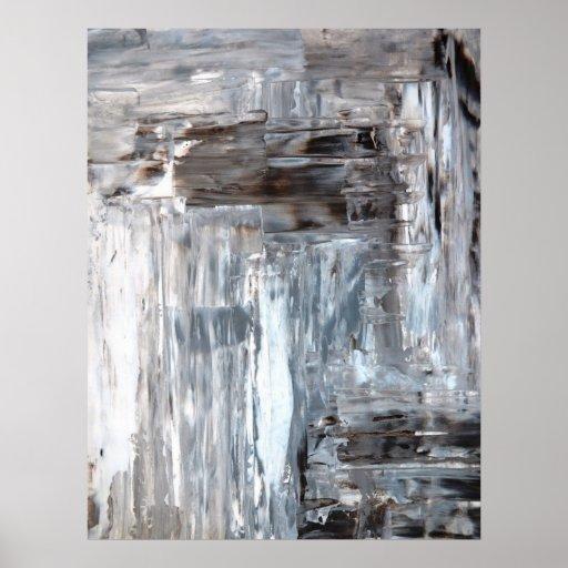 'Awkward' Grey and Brown Abstract Art Poster Print