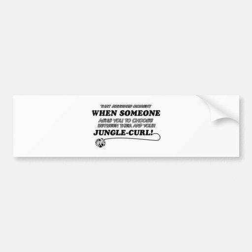 Awkward jungle curl designs bumper stickers