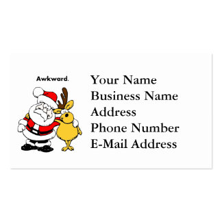 Awkward Santa and Reindeer Cartoon Double-Sided Standard Business Cards (Pack Of 100)