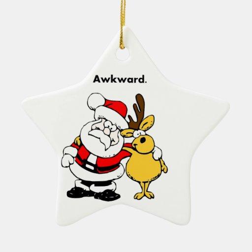 Awkward Santa and Reindeer Cartoon Ornament