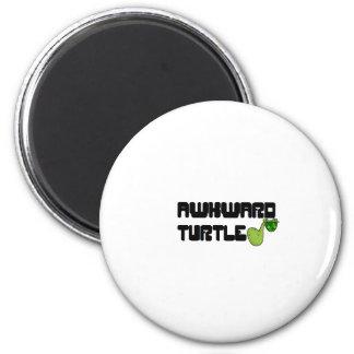 Awkward turtle 6 cm round magnet