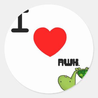 awkward turtle love round sticker