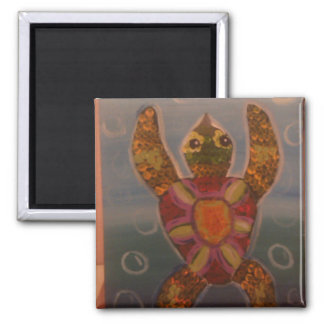 Awkward Turtle Square Magnet