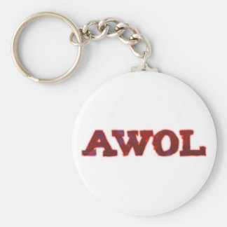 AWOL absent without leave Basic Round Button Key Ring