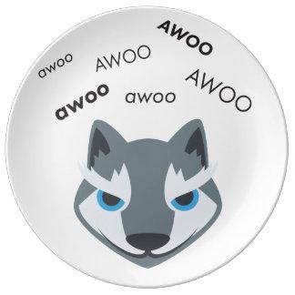 Awoo Wolf Cute Emoji Porcelain Plates