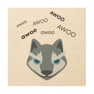 Awoo Wolf Cute Emoji Wood Wall Decor