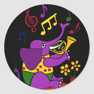 AX- Folk Art Elephant Playing French Horn Round Sticker