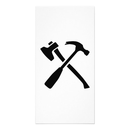 Ax hammer crossed tools photo cards