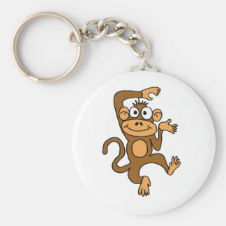 AX- Happy Dancing Monkey Basic Round Button Key Ring