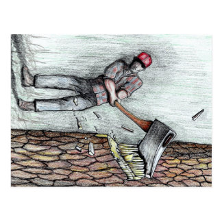 Axe Man no stihl chainsaw Postcard