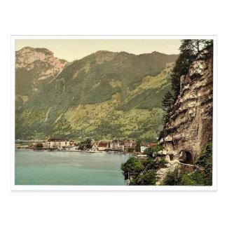 Axenstrasse, and Brunnen, Lake Lucerne, Switzerlan Postcard