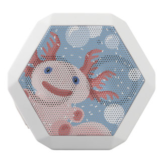 Axolotl and the Bubbles Bold Vector Design White Bluetooth Speaker