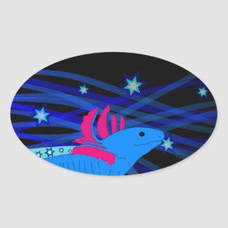 Axolotl blue with stars oval sticker