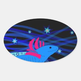 Axolotl blue with stars oval sticker
