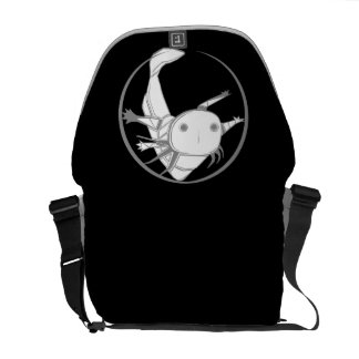 Axolotl circle bag (white on black) messenger bag
