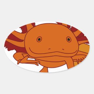 Axolotl cookie oval sticker