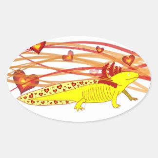 Axolotl gold Albino Oval Sticker