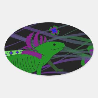 Axolotl green in the luck on black oval sticker