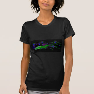 Axolotl green in the luck on black t-shirts