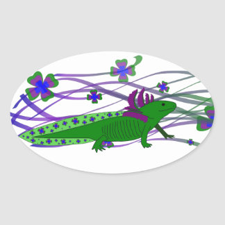 Axolotl green in the luck oval sticker