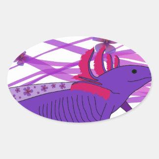 Axolotl Hiebiskus II Oval Sticker