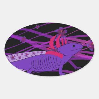 Axolotl Hiebiskus Oval Sticker
