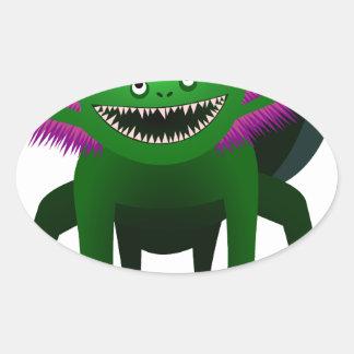 Axolotl monster Green Oval Sticker